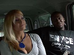 Sexy blonde chick named Secret is having fun with a few insatiable black studs. She favours them with a blowjob and then gets fucked doggy style.