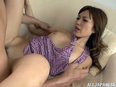 Have a blast watching this Asian chick, with natural jugs and nice asses, while she gets fucked hard in different positions after cooking.