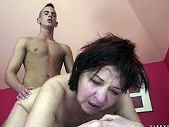 Make sure you take a look at this hardcore scene where this horny mature sucks on this guy's hard cock in the shower before being fucked silly by him.