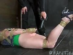 Checkout this hard bondage for poor slave Maggie Mead.See how she gets her all holes tortured in this video, and her tits are tied hard too.Bunch of dildos, electrodes, spanking, whipping and hard ass toying.