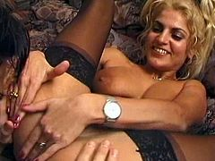 A blonde chick in nylon stockings toys her asshole to prepare herself for anal sex. Then she gives a blowjob to the guy and gets pounded in the ass.