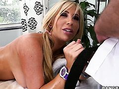 Lustful seductress Tasha Reign with phat ass shows off her assets while giving tugjob