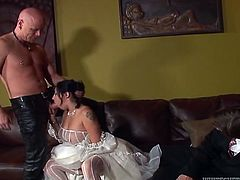 This raven haired hottie with nice boobies was not ready to get married. Her pussy still wanted dirty 3 some at least. So this lassie escaped from wedding. And got doggy pose fucked by one dude. The other waited for his turn. Look at this nice FMM fuck in Fame Digital porn clip!