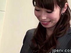 2 Horny young studs force a beautiful Japanese secretary