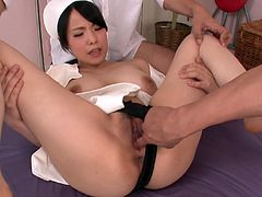 Miho Tsujii is one hot nurse who knows how to cure her patients. She makes her patient lick her swollen nipples. Then she gives him a nice blowjob. I wish I were this lucky bastard.