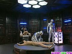 Weird cosplay of tight japanese Miriya and Tsubomi abducted by aliens and getting hypnotized. These two chicks became sex slaves and willingly to suck the hell out of alien's dicks