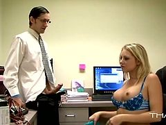 She thanks the guy sucking his fat cock in the office