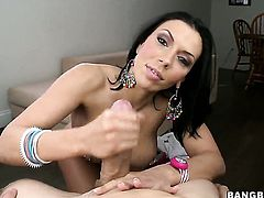 Rachel Starr with round ass lets man cover her nice face in man goo