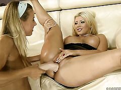 Blonde Amanda Black is good at carpet munching and her lesbian girlfriend Nikky Thorne knows it