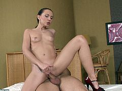 A fuckin' gorgeous brunette slut sucks on a hard cock and takes it balls deep into her fuckin' pink gash, check it out and fuckin' enjoy!