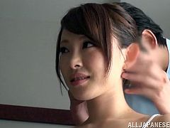 What a delicious and sexy Japanese siren Aiko Sunakawa is. She is getting naked and enjoying her time, while he rubs her naked body.