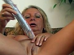 Large toy cock is all mature needs to have an amazing time during rough and passionate solo masturbation