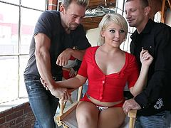 Check out this great hardcore scene where the beautiful blonde Casey Cumz is double penetrated by two guys in a hot threesome.