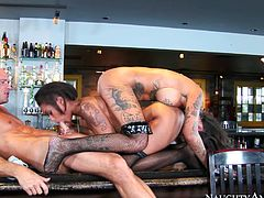 After testing their double ended dildo they want to share bartender's cock. These two take turns sucking and fucking this lucking bastard.