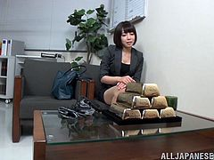 Have a good time watching this short haired brunette, with a nice ass wearing her job uniform, while she gets plowed hard in different positions.