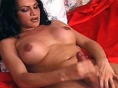 Busty tranny lustfully plays her nasty huge shemale cock and hot ass for filthy solo show.