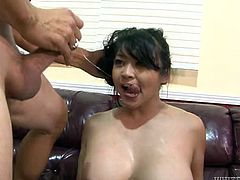 Plump black haired chick with big saggy tits gets her fat pussy destroyed in cowgirl and reverse positions. Then she blows that sloppy cock greedily. Take a look at that steamy fuck in Fame Digital sex clip!