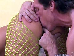 Horny redhead bitch Katja Kassin wearing fishnet pantyhose lets a dude poke his weiner deep in her mouth. Then the man drills Katja's cunt and asshole in the cowgirl position.