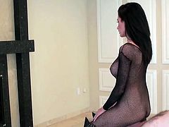 Brunette angel dressed in sexy fishnet costume loves to dominate her obedient partner in nasty femdom style
