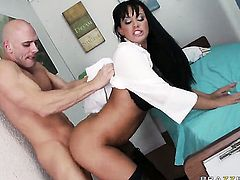 Johnny Sins buries his rock solid ram rod in breathtakingly sexy Savannah Sterns mouth