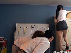 Mira Tamana is going to have so much fun today! She gets naked and starts enjoying her time on that huge cock! Office time!