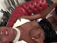 Black haired torrid shemale with nice boobies and white necklace rested on sofa with her legs spread apart and got provided with pretty solid BJ. Look at that hard TS oral sex in Fame Digital sex video!