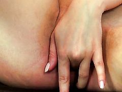 Cassie Laine with small breasts and smooth bush playing with herself for camera