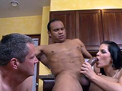 After a good dinner, busty wife though of giving their guest a naughty dessert in one natsy threesome