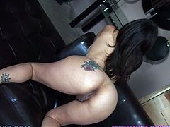 Tattooed brunette Raylene with smooth ass and big boobs plays with her pussy, then kneels down to blow her horny boyfriend.