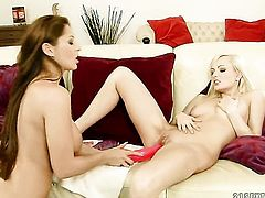 Blonde with gigantic tits gets her dripping wet love hole fingered by lesbian Bianca Golden
