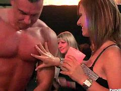 A horny chicks are ready to suck and fuck big cocks at the club. Watch this hottie switching turns to deepthroat two male strippers like a real champ. She loves cum.