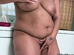 Chubby Granny Fannie reveals her massive natural boobs and lactating milk needed for her big fat pussy as her sweet lubricant for her masturbating session.