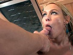 Horny Mellanie thrilled by the sight of his cock swallows it then gives it a tit job before spreading her legs to receive his throbs in her pussy and he finally cums in her mouth
