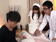 Jav HD brings you a hell of a free porn video where you can see how this slutty Japanese nurse gets banged by two dudes into heaven while assuming very hot poses.
