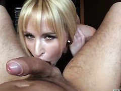 Aleska Diamond enjoys David Perrys man meat in her mouth in steamy oral action