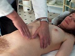 That hairy twat looks appealing as horny doc stretches it to the max in full gyno exam fetish scene