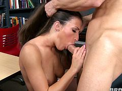 Long-haired babe Lizz Tayler is playing dirty games with Johnny Sins indoors. She favours the dude with a blowjob and they have terrific doggy style sex.