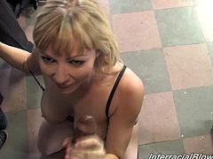 Get a hard dick watching this blonde pornstar, with a nice ass wearing sexy panties, while she gets gangbanged in a reality video.