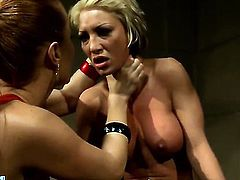 Blonde Pearl Diamond with massive boobs gets wildy tongue fucked by Katy Parker