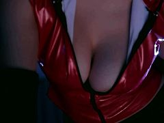 Watch an incredible suit of sex scenes. You can notice right away the big tits of a Japanese girl wearing a red top with a low neckline. The tight black leather pants are also a great turn on, inviting you to squeeze them. A mirror hanged on the wall projects the silhouettes of the two lovers. See them undressing.