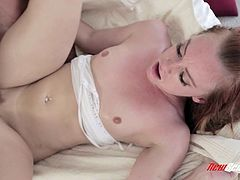 Be part of this video where a redhead babe, with small breasts and a shaved pussy, while she goes hardcore with a lusty dude and moans like a whore!