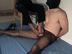 Man in pantyhose and mature ebony footjob