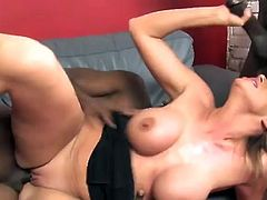 Curvaceous Kylie Worthy sucks two large black dicks. Then this busty babe also gets banged in her soaking wet pussy. Kylie also gets her mouth filled with a big load of sperm.