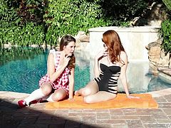 These voracious bitches are so horny that they go to the bed immediately. Brunette spred her legs and gets drilled by the dildo in the hands of sexy redhead. Have a look at these babes in When Girls Play sex video.