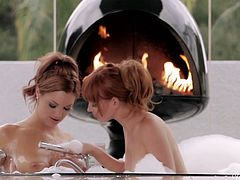 Jayden Cole and Marie McCray making love in a bathtub