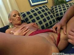 Take a look at this hardcore scene where the busty blonde Bridget Blonde ends up with her big natural tits covered by semen after being fucked silly.
