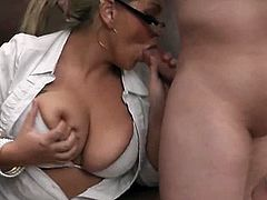 If you love horny girls with big tits make sure you don't miss this particular one. Watch as she blows this cock so sweet before taking it deep in her twat.
