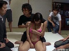 Busty Japanese bitch Satou Haruka is playing dirty games with a few men indoors. The studs play with Satou's natural tits and shaved pussy and fuck her mouth and twat by turns.