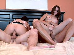 Melissa Lauren and Amber Rayne are getting naughty with two dudes in a bedroom. They chat and have fun and bang in the missionary position afterwards.