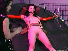 Anastasia Pierce and Jean Bardot are having fun indoors. The dominatrix binds her GF up and plays with her tits and hot juicy cunt.